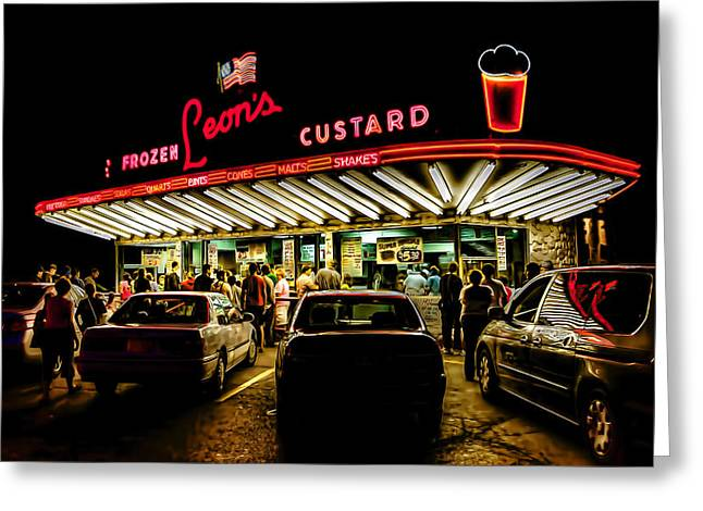 Burger Greeting Cards - Leons Frozen Custard Greeting Card by Scott Norris