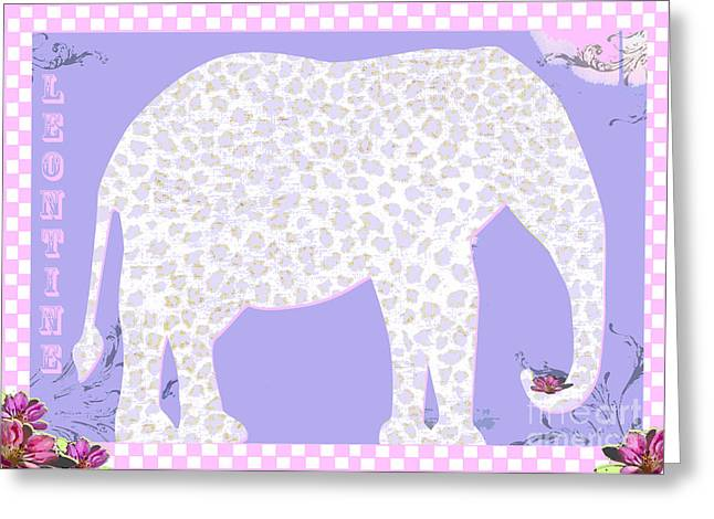 Teen Licensing Greeting Cards - Leontine the Spotted Elephant Greeting Card by Anahi DeCanio