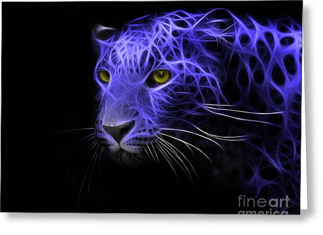 Metall Greeting Cards - Leopard Fractal Blue Greeting Card by Bruno Santoro