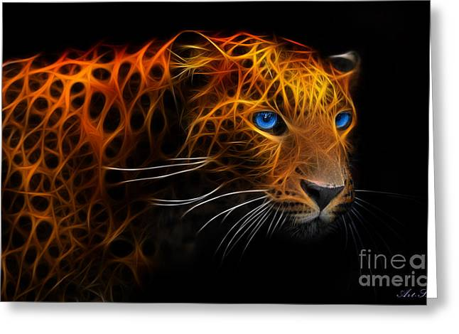 Metall Greeting Cards - Leopard Fraktal Greeting Card by Bruno Santoro