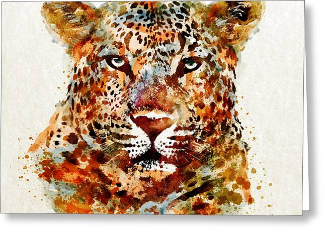 Feline Mixed Media Greeting Cards - Leopard Head watercolor Greeting Card by Marian Voicu