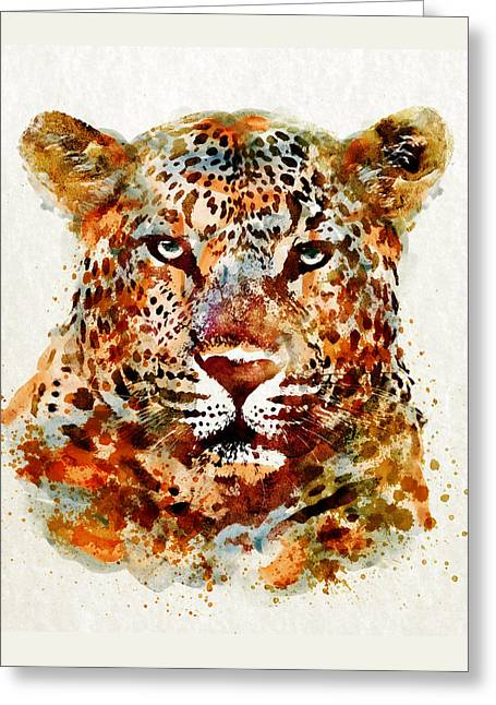 Wildlife Digital Art Greeting Cards - Leopard Head watercolor Greeting Card by Marian Voicu