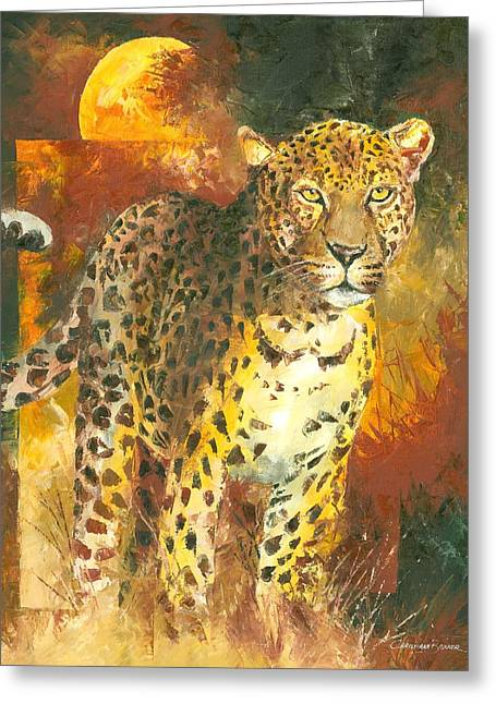 Leopard Hunting Greeting Cards - Leopard in the Sun Greeting Card by Christiaan Bekker