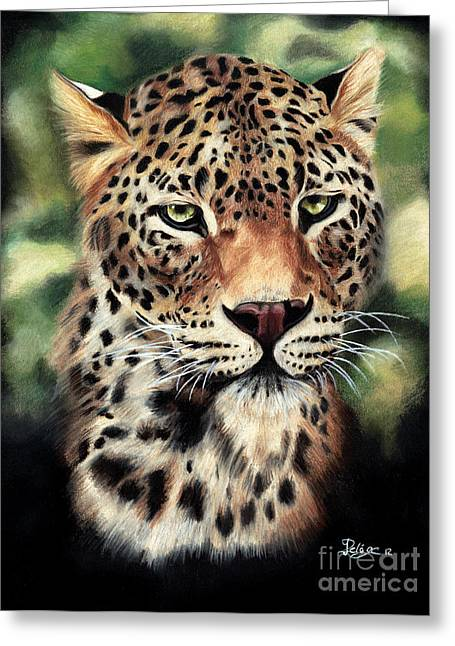 Hunter Pastels Greeting Cards - Leopard Greeting Card by Jeanne Delage