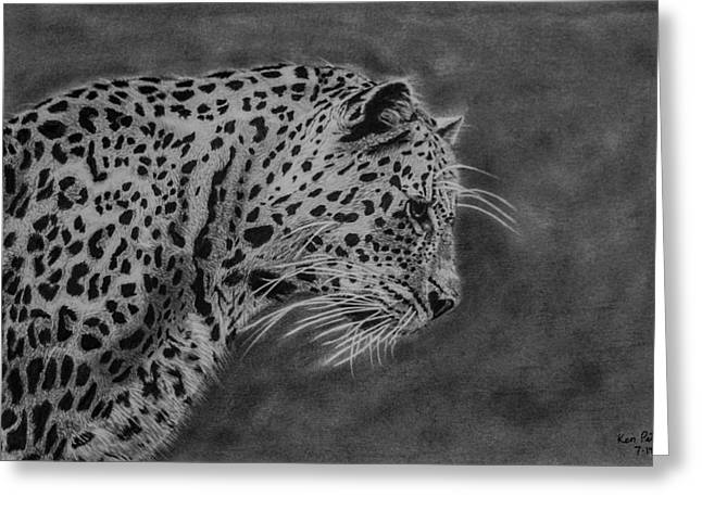 Hyperrealistic Greeting Cards - Leopard Greeting Card by Kenneth  Pettay