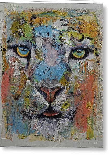 Les Greeting Cards - Leopard Greeting Card by Michael Creese