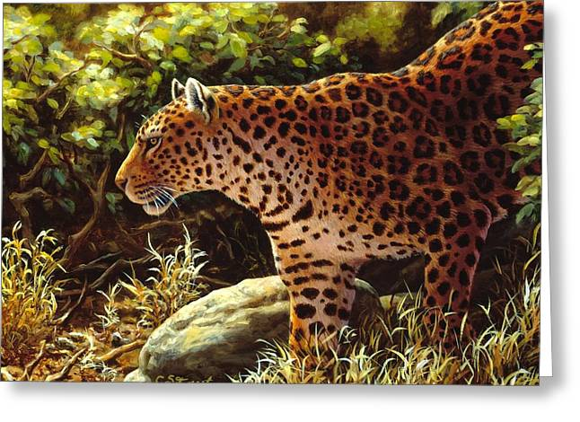 """wild Cat"" Greeting Cards - Leopard Painting - On The Prowl Greeting Card by Crista Forest"