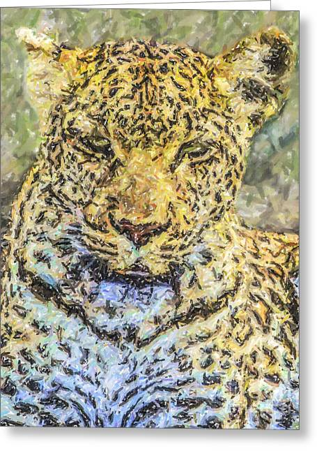 Mammal Greeting Cards - Leopard Panthera pardus portrait Greeting Card by Liz Leyden