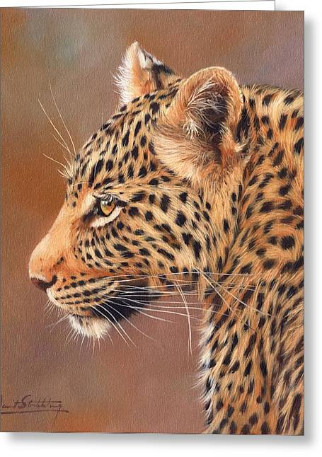 Leopard Print Greeting Cards - Leopard Portrait Greeting Card by David Stribbling