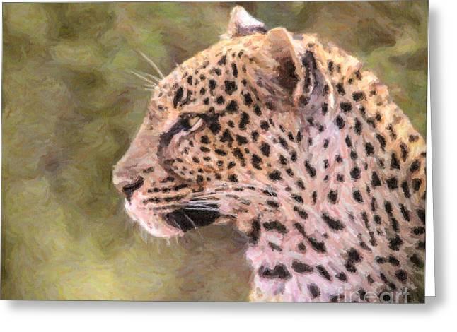 Safari Greeting Cards - Leopard portrait Greeting Card by Liz Leyden