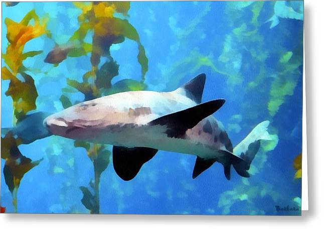 Leopard Shark Greeting Cards - Leopard Shark Watercolor Greeting Card by Barbara Snyder