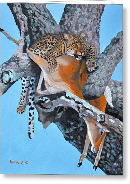 Reebok Greeting Cards - Leopard with Reedbuck Greeting Card by Gail Tunberg