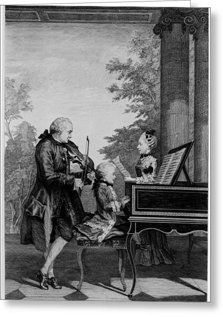 Family Drawings Greeting Cards - Leopold Mozart And His Two Children Greeting Card by Louis Carrogis Carmontelle