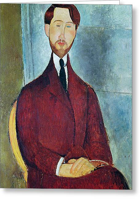 Clemente Paintings Greeting Cards - Leopold Zborowski Greeting Card by Amedeo Modigliani