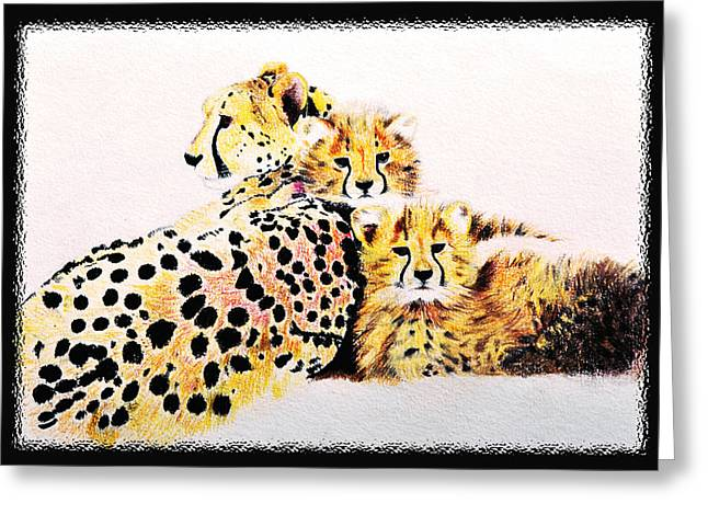 Dot Pastels Greeting Cards - Lepardfamily Greeting Card by Amira El Fohail