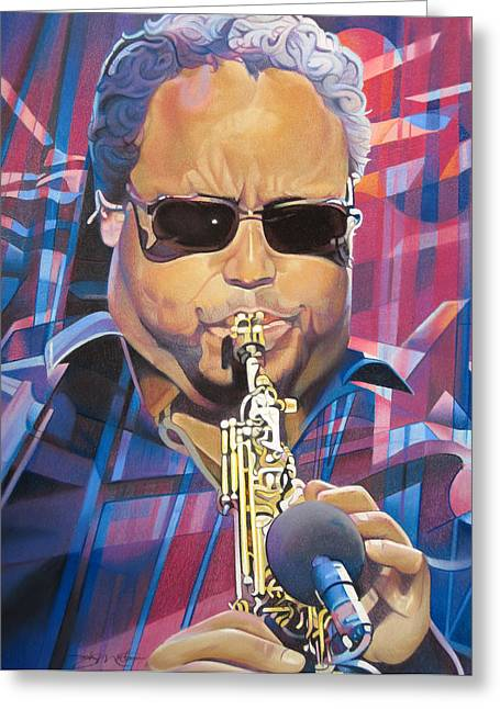 The Dave Matthews Band Drawings Greeting Cards - Leroi Moore and 2007 Lights Greeting Card by Joshua Morton
