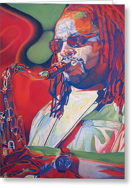 Player Drawings Greeting Cards - Leroi Moore Colorful Full Band Series Greeting Card by Joshua Morton