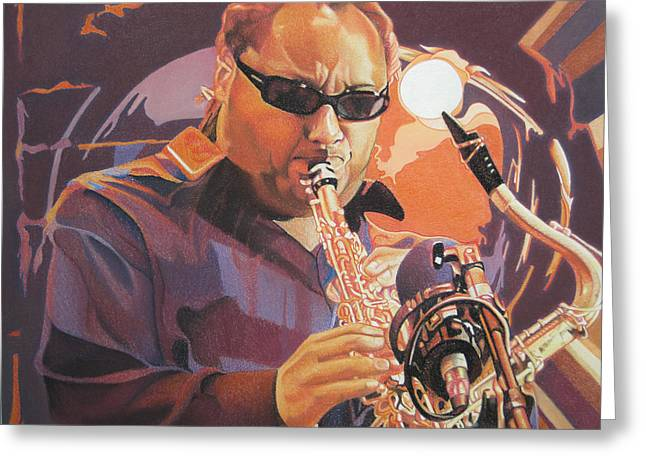Player Drawings Greeting Cards - Leroi Moore purple and Orange Greeting Card by Joshua Morton