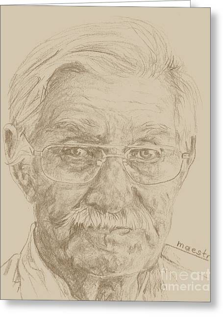 Gray Hair Drawings Greeting Cards - LeRoy Greeting Card by PainterArtistFINs Husband MAESTRO