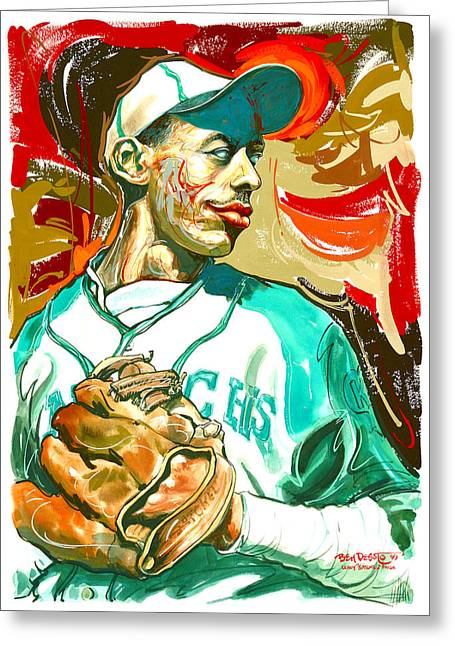 Negro Leagues Paintings Greeting Cards - Leroy Satchel Page Greeting Card by Ben De Soto