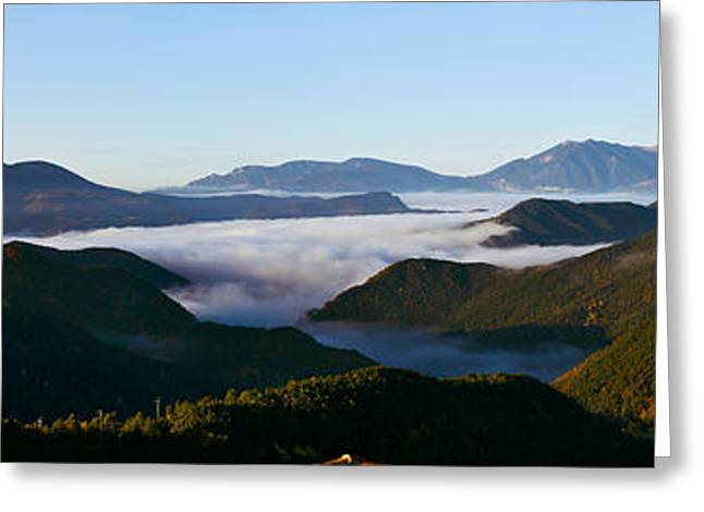 Les Agudes Mountain From Castellar De Greeting Card by Panoramic Images