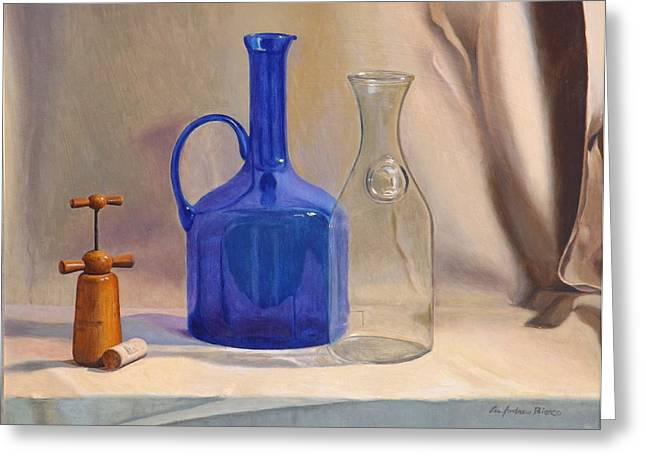 Ewer Paintings Greeting Cards - Les Ami Du Vin Greeting Card by Lee Bianco