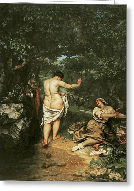 Bathers Greeting Cards - Les Baigneuses, 1853 Oil On Canvas Greeting Card by Gustave Courbet