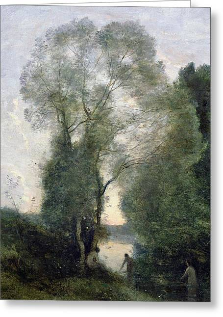 Les Greeting Cards - Les Baigneuses Greeting Card by Jean Baptiste Camille Corot