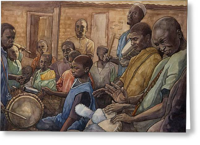 West Africa Greeting Cards - Les Batteurs I Greeting Card by Dave Kobrenski