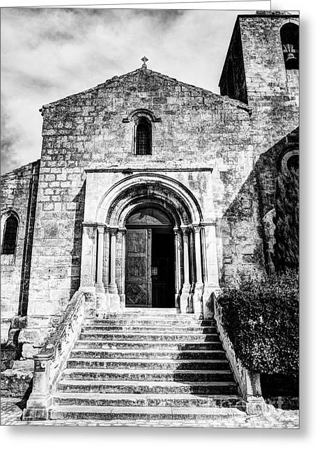 Wooden Stairs Greeting Cards - Les Baux De Provence 18 BW Greeting Card by Mel Steinhauer