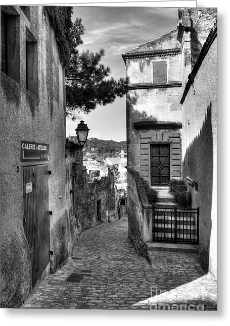 Provence Village Greeting Cards - Les Baux De Provence 6 BW Greeting Card by Mel Steinhauer