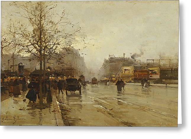Wintry Greeting Cards - Les Boulevards Paris Greeting Card by Eugene Galien-Laloue