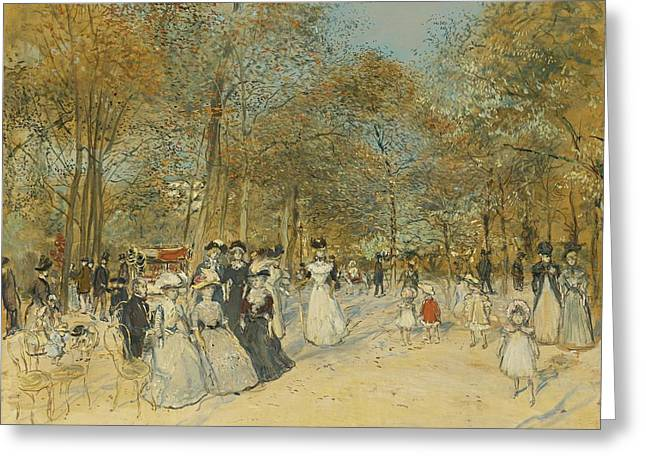Champs Greeting Cards - Les Champs-elysees Greeting Card by Jean-francois Raffaelli