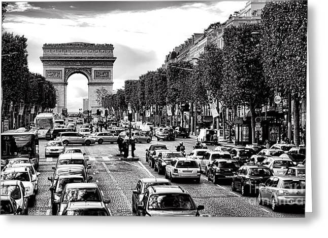 Arc De Triomphe Greeting Cards - Les Champs Elysees  Greeting Card by Olivier Le Queinec