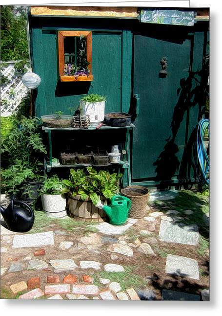 Shed Digital Art Greeting Cards - Les Chateau des Jardin Greeting Card by Kathy Bassett