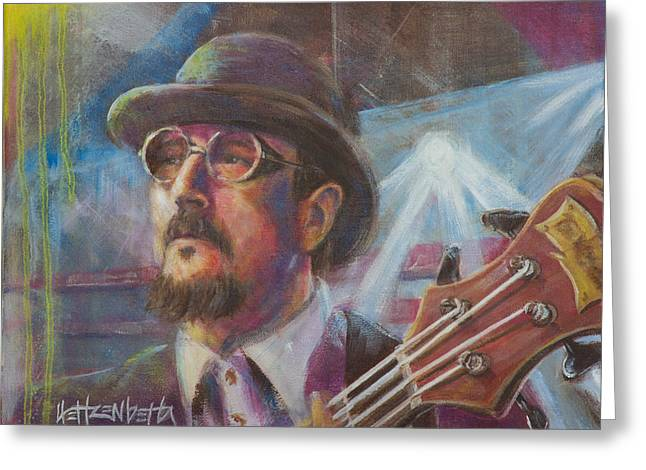 Music Greeting Cards - Les Claypool Greeting Card by Josh Hertzenberg