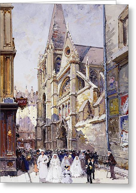 Christian Paintings Greeting Cards - Les Communianates a Paris Greeting Card by Eugene Galien-Laloue