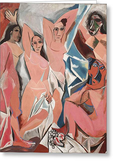 Pablo Picasso Greeting Cards - Les Demoiselles d Avignon Greeting Card by Pablo Picasso