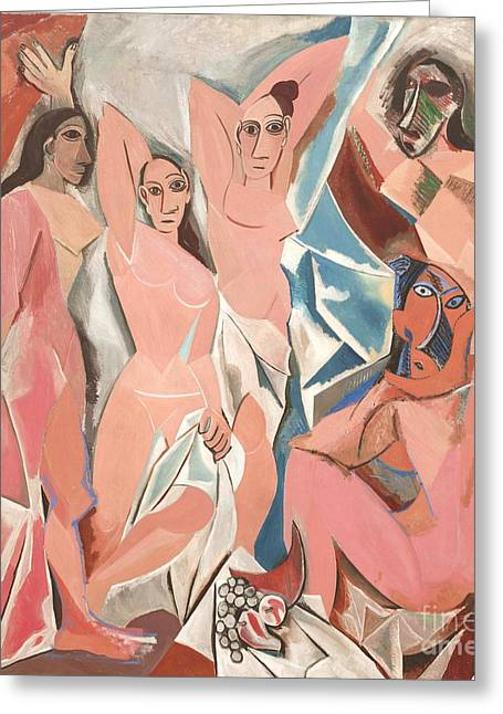 Demoiselles Greeting Cards - Les demoiselles d Avignon Greeting Card by Reproduction