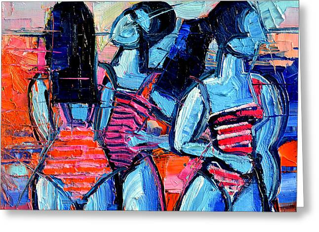 Demoiselles Greeting Cards - Les Demoiselles De Deauville Greeting Card by Mona Edulesco