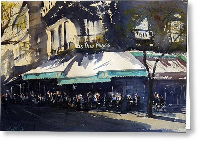 Spectacular Paintings Greeting Cards - Les Deux Magots Greeting Card by James Nyika