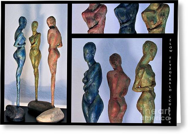 Nude Relief Sculpture Greeting Cards - Les filles de lAsse 1 Triptic collage Greeting Card by Flow Fitzgerald