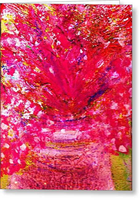 Les Mixed Media Greeting Cards - Les Fleurs Greeting Card by Anne-Elizabeth Whiteway