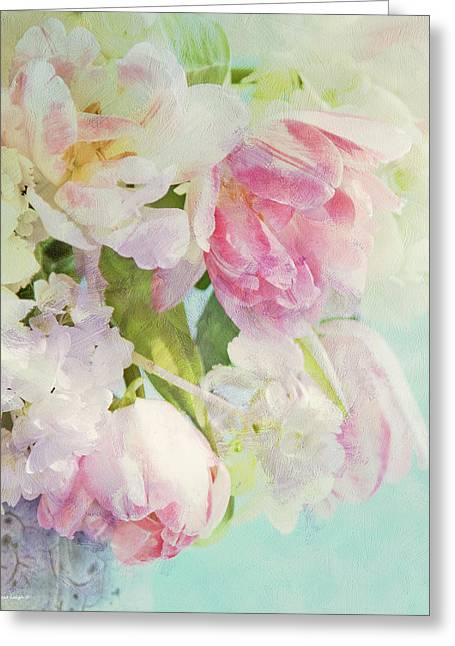 Turquoise Pastel Greeting Cards - Les Fleurs Greeting Card by Theresa Tahara