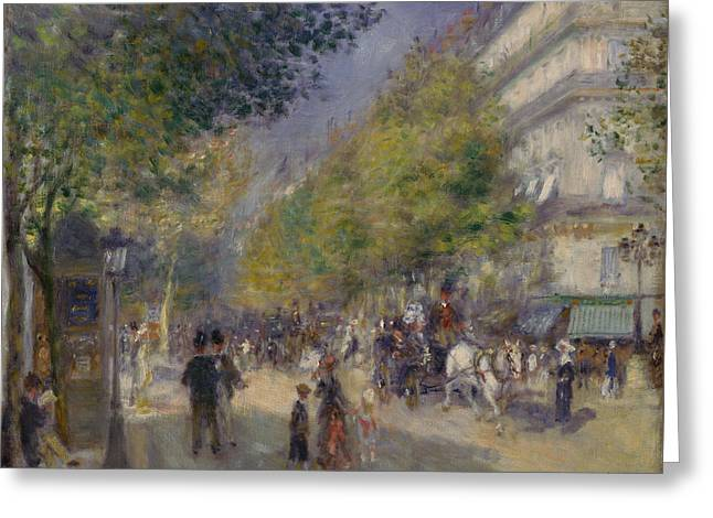 Renoir Digital Greeting Cards - Les Grands Boulevards Greeting Card by Nomad Art And  Design