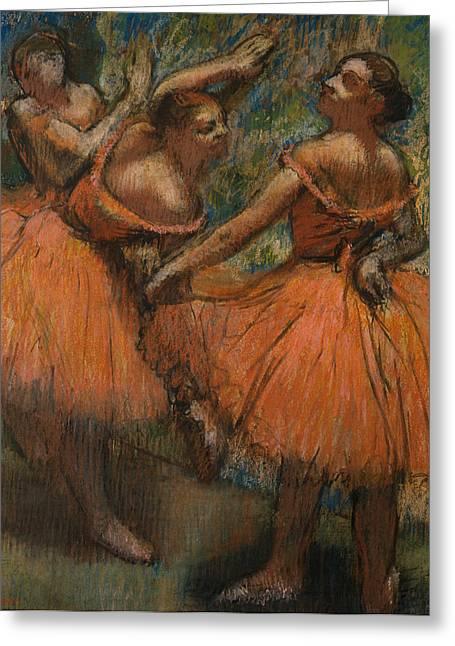 Ballerinas Greeting Cards - Les Jupes Rouge Greeting Card by Edgar Degas