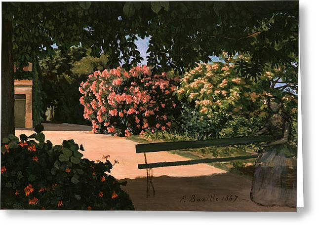 Rosebush Greeting Cards - Les Lauriers Roses, 1867 Oil On Canvas Greeting Card by Jean Frederic Bazille