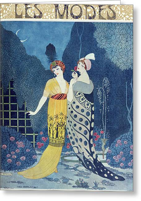 Unique Art Paintings Greeting Cards - Les Modes Greeting Card by Georges Barbier