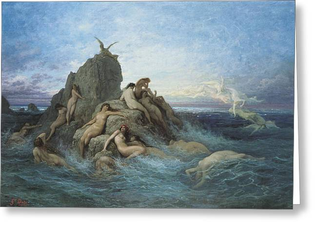 Dore Digital Greeting Cards - Les Oceanides Greeting Card by Gustave Dore