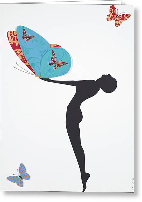 Female Silhouette Greeting Cards - Les Papillons, 2008 Greeting Card by Jenny Barnard